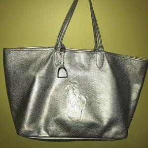 Ralph Lauren XL Silver Leather Shoulder Open Tote